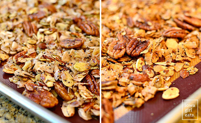 unbaked and baked grain free granola on a baking sheet