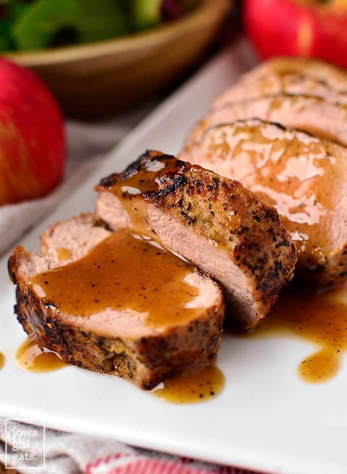 close up photo of sliced pan roasted pork tenderloin