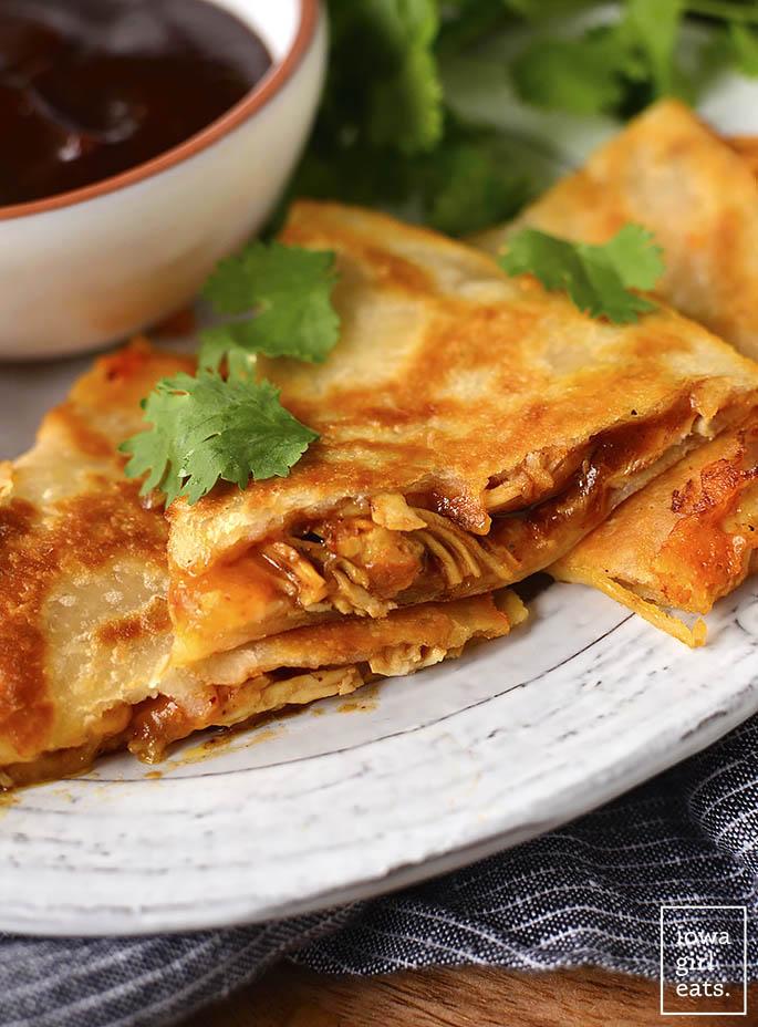 Photo of sliced BBQ Chicken Quesadillas