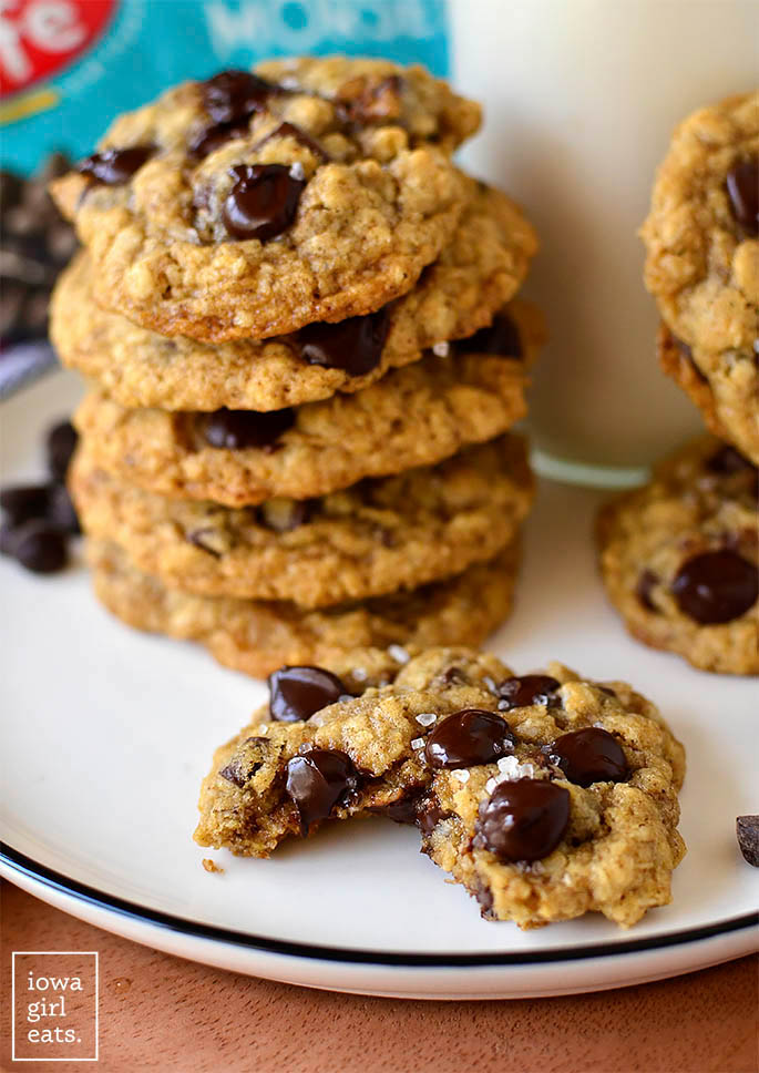 gluten free oatmeal chocolate chip cookie with a bite taken out of it