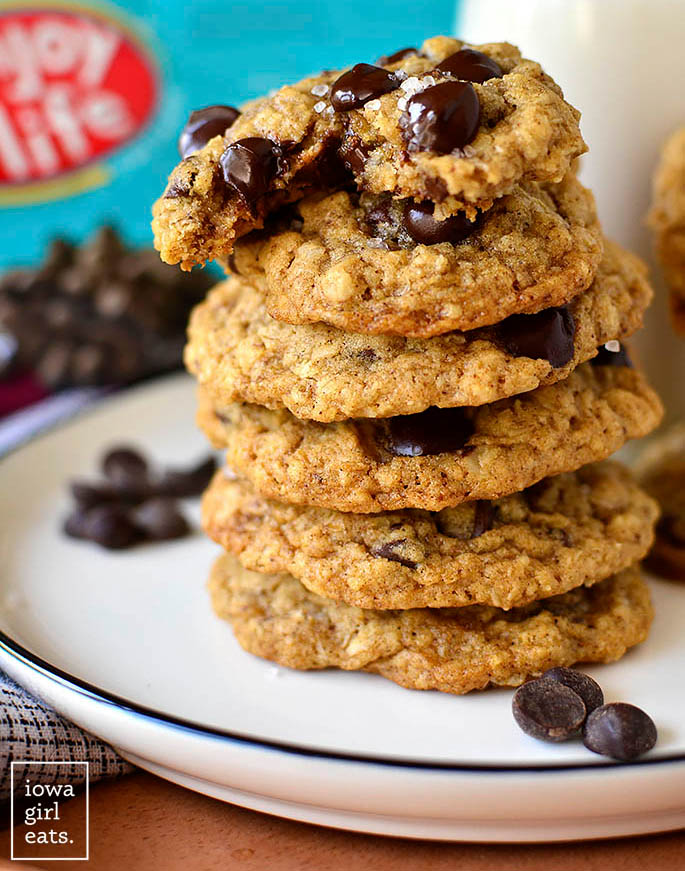 stack of gluten free oatmeal chocolate chip cookies
