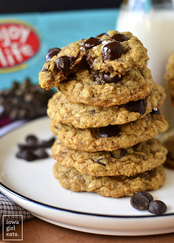 Stack of Brown Butter Oatmeal Chocolate Chip Cookies