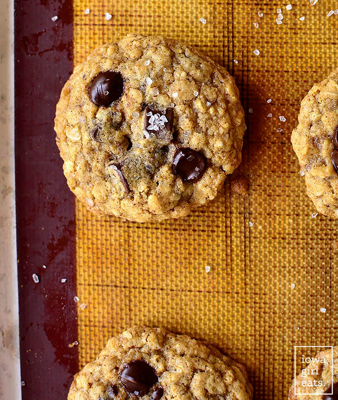 gluten free oatmeal chocolate chip cookie on a baking sheet