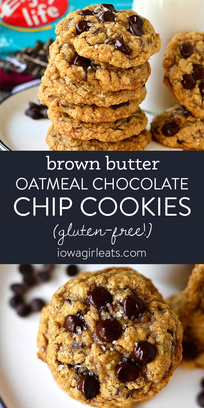photo collage of brown butter oatmeal chocolate chip cookies