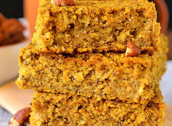 close up photo of a stack of maple pumpkin oatmeal bars