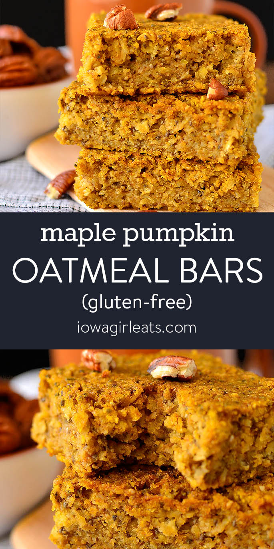 Photo collage of maple pumpkin oatmeal bars