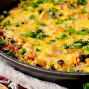 Cheesy Chicken Burrito Skillet