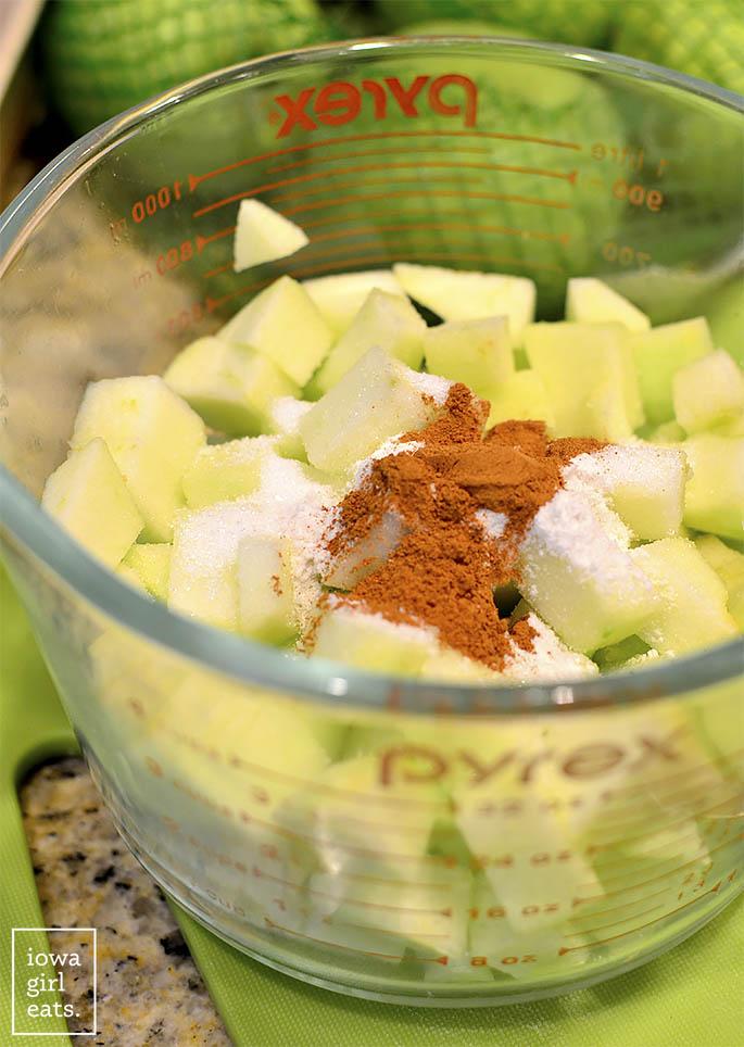 ingredients for apple crisp filling in a bowl