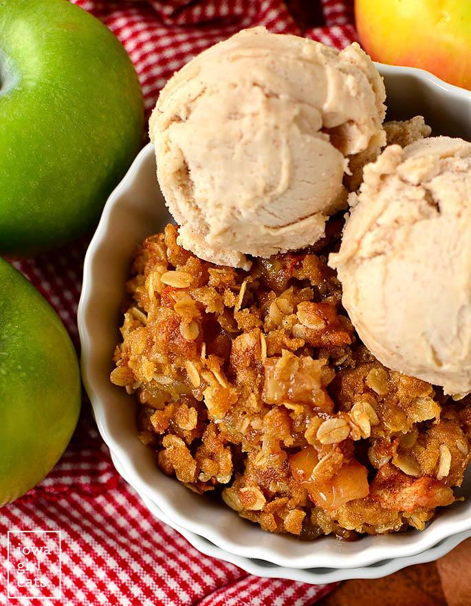 overhead photo of a dish of gluten free apple crisp with ice cream