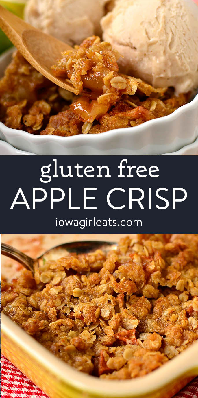photo collage of gluten free apple crisp