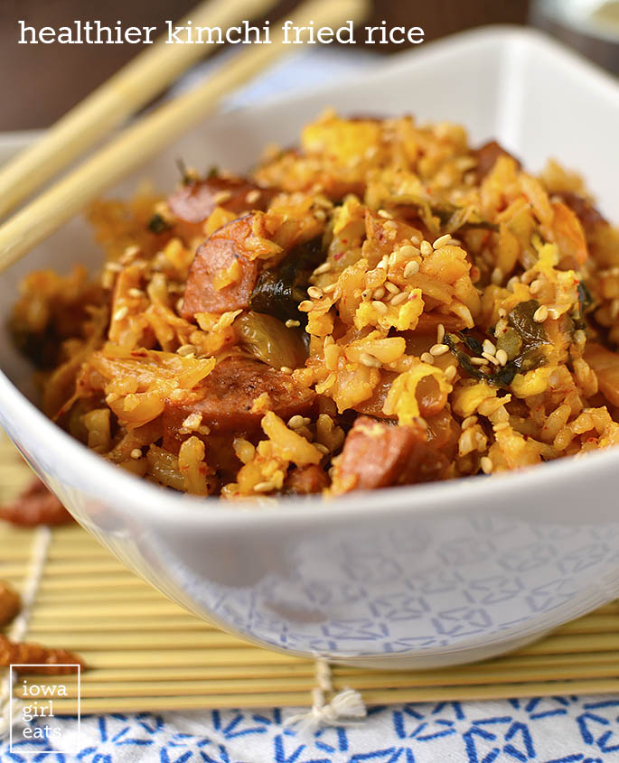 Healthier Kimchi Fried Rice in a bowl