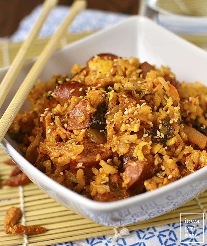Overhead photo of kimchi fried rice with chopsticks
