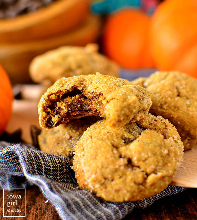 Soft batch pumpkin gingersnap chocolate chip cookie with a bite taken out of it