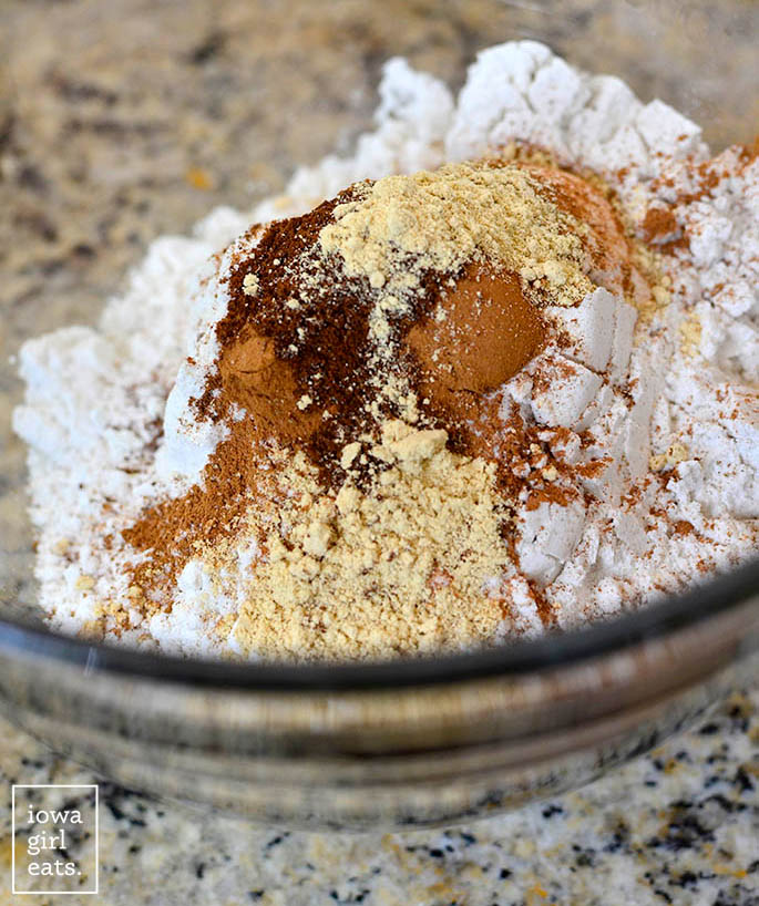 dry ingredients for making cookies in a mixing bowl