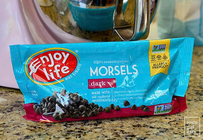 bag of enjoy life dark chocolate morsels on a countertop