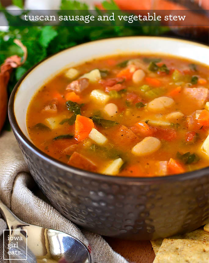 tuscan sausage and vegetable stew in a bowl