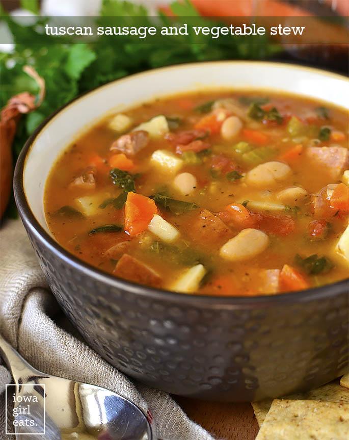 Bowl of Tuscan Sausage and Vegetable Stew