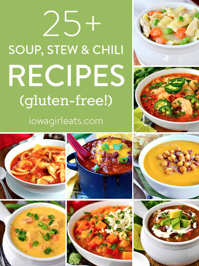 Photo collage of soup, stew and chili recipe roundup on Iowa Girl Eats