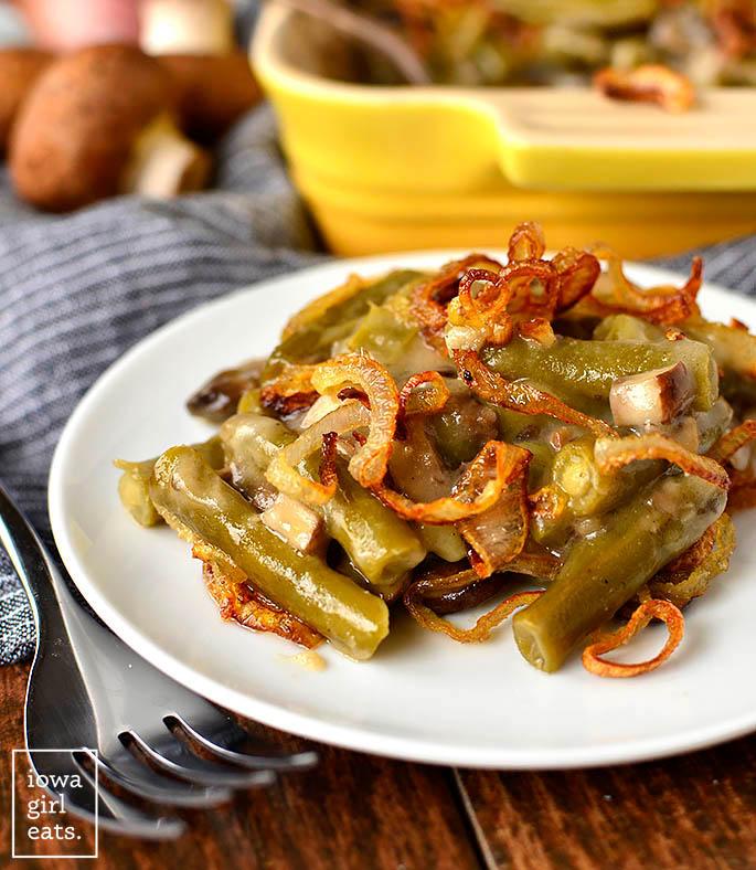 a scoop of gluten free green bean casserole on a plate