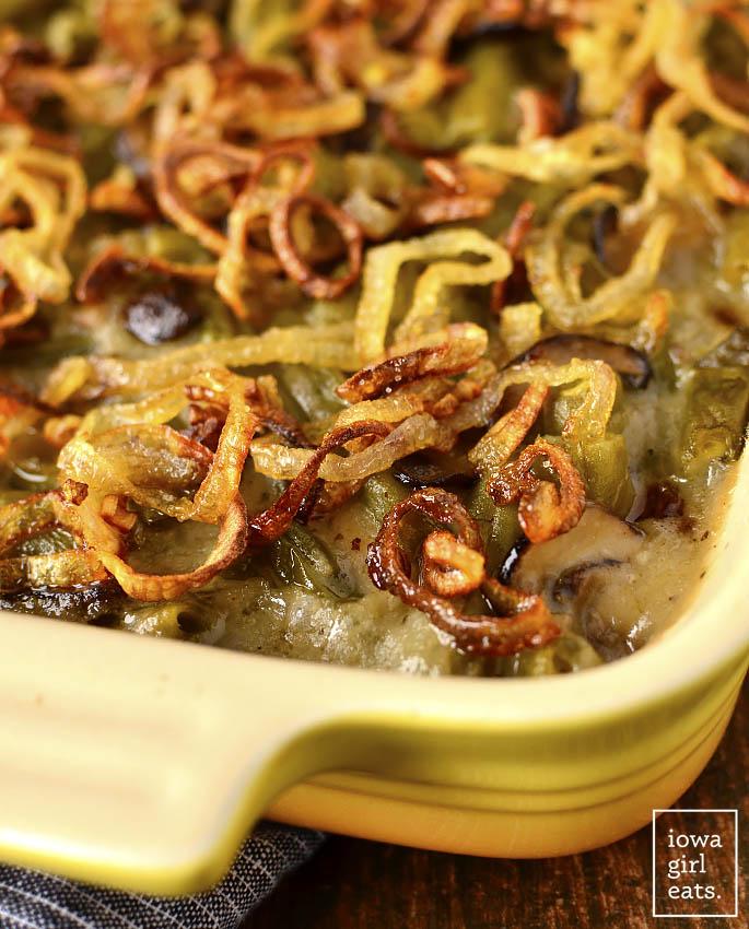 Close up photo of Gluten-Free Green Bean Casserole with Garlic Butter Mushrooms
