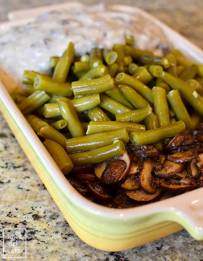 ingredients for gluten free green bean casserole in a baking dish