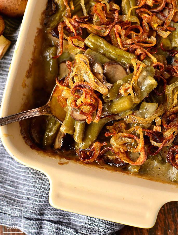fork in a baking dish of gluten free green bean casserole
