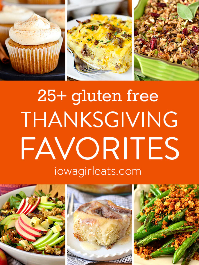 Photo collage of gluten free Thanksgiving recipes