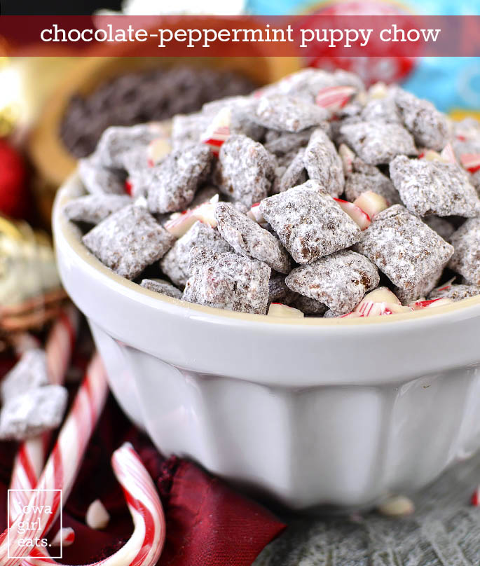 Bowl of Chocolate Peppermint Puppy Chow