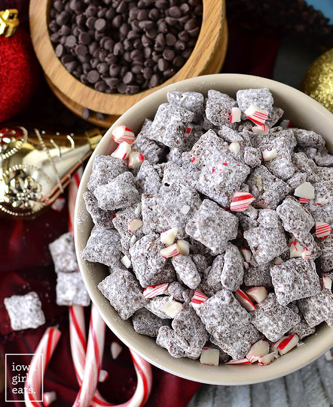 Overhead photo of Chocolate Peppermint Puppy Chow