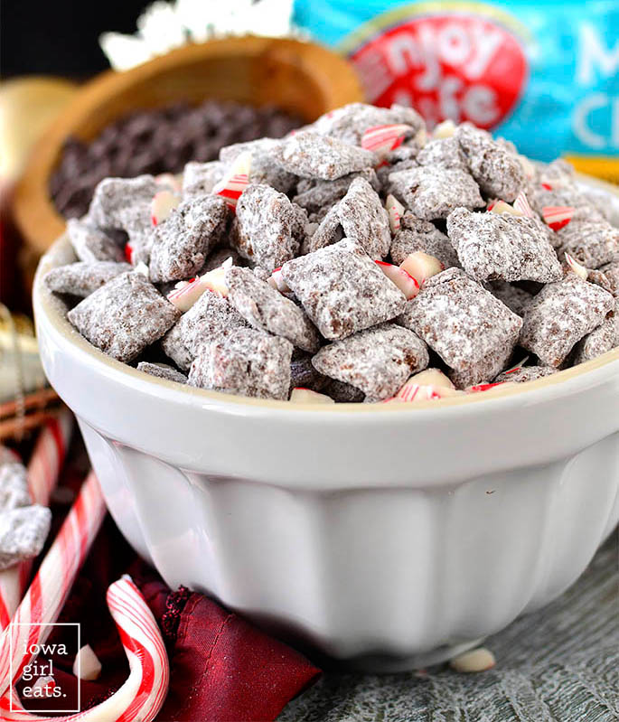 chocolate peppermint puppy chow in a large bowl
