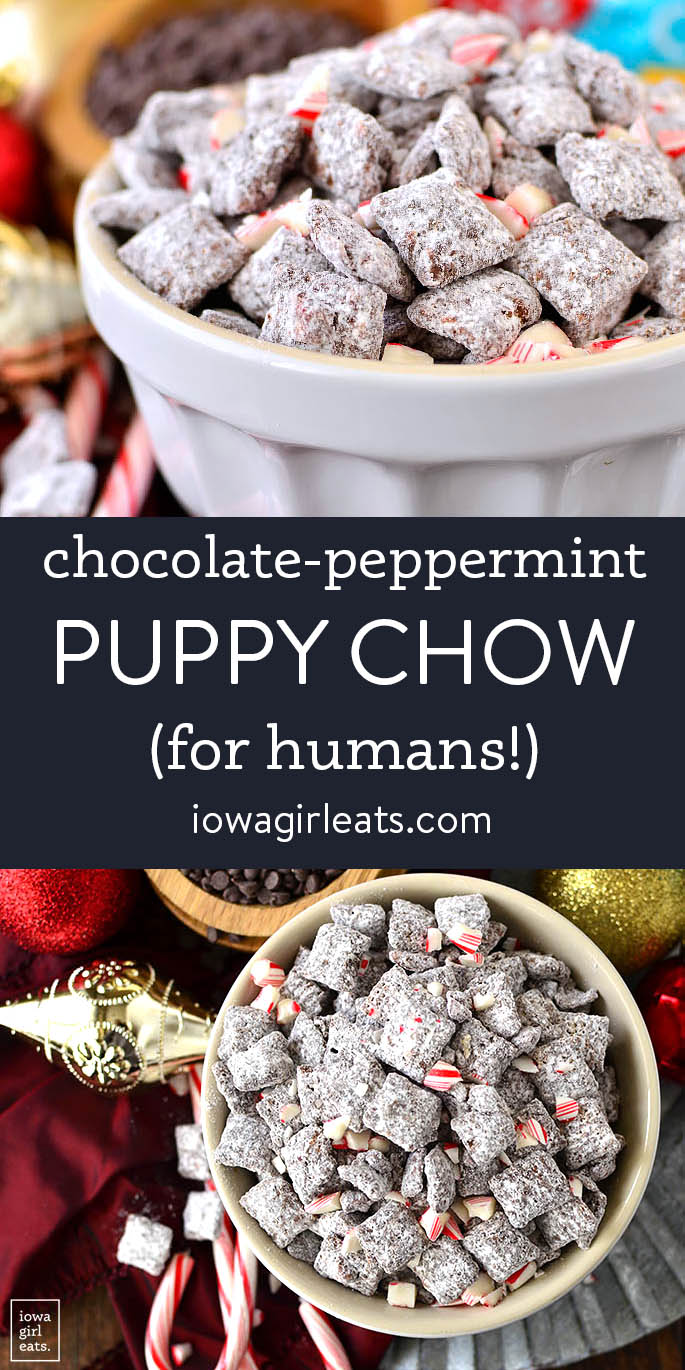 photo collage of chocolate peppermint puppy chow