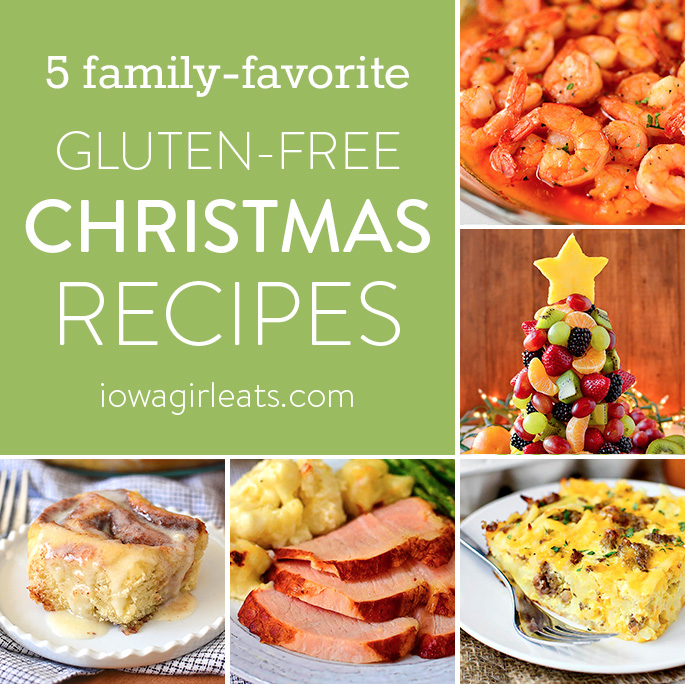 Photo collage of gluten-free Christmas recipes.