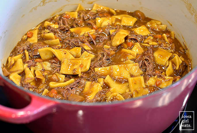 dutch oven with gluten free beef and noodles