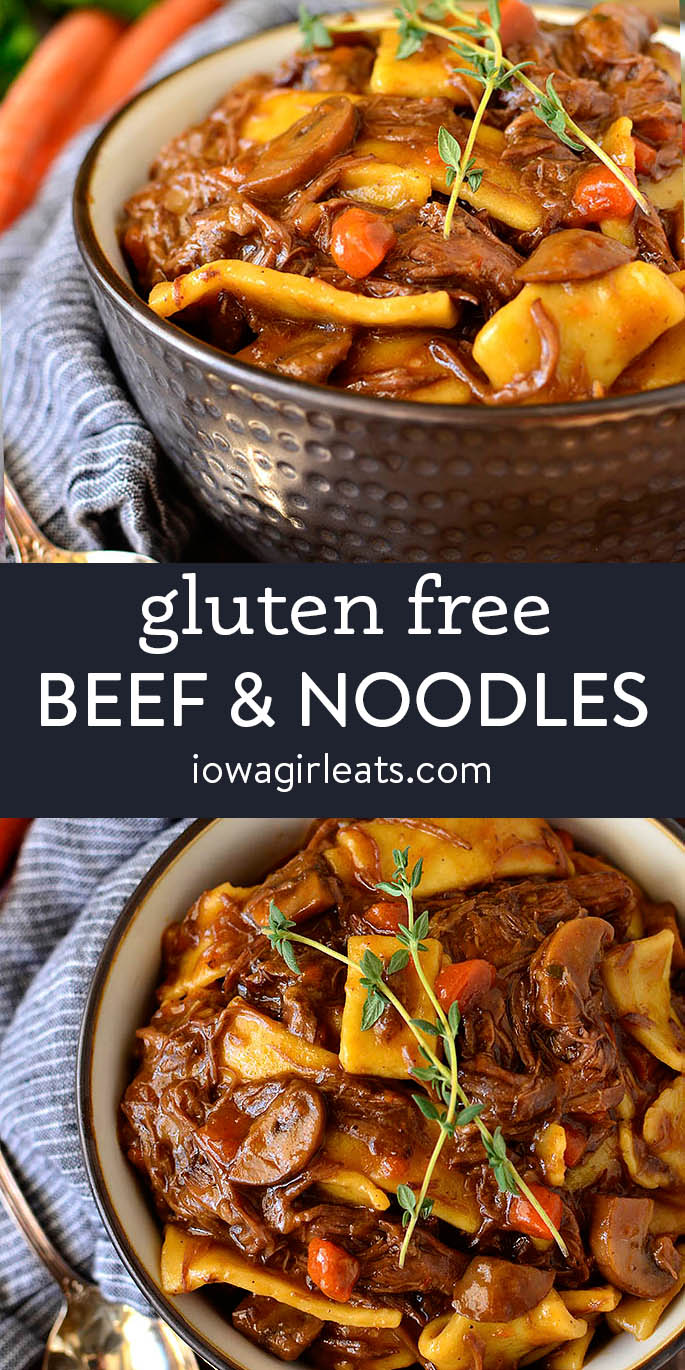photo collage of gluten free beef and noodles