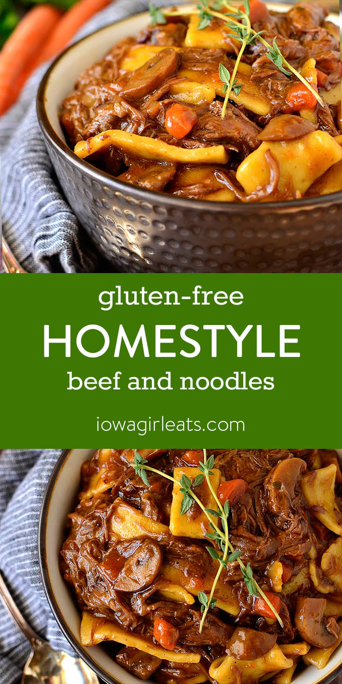 Photo collage of Gluten-Free Homestyle Beef and Noodles