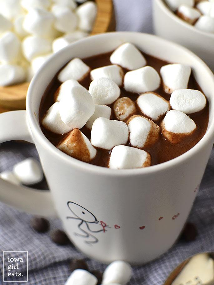 Mug of Easy Homemade Hot Chocolate with marshmallows