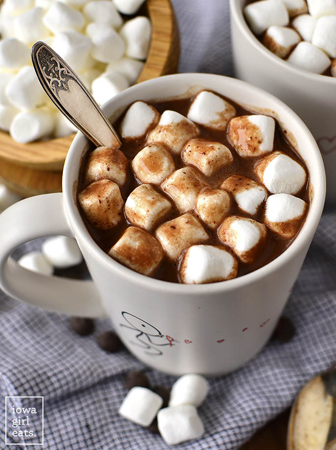 Photo of a mug of Easy Homemade Hot Chocolate with marshmallows