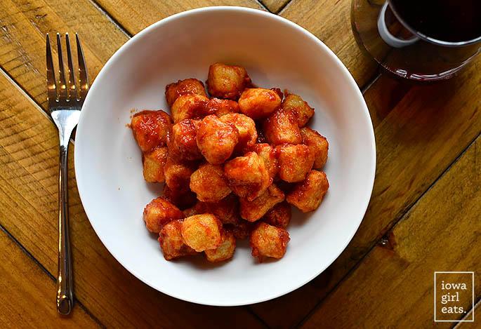 Plate of Trader Joe's Frozen Cauliflower Gnocchi made in the air fryer