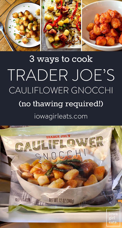 photo collage of trader joe's cauliflower gnocchi