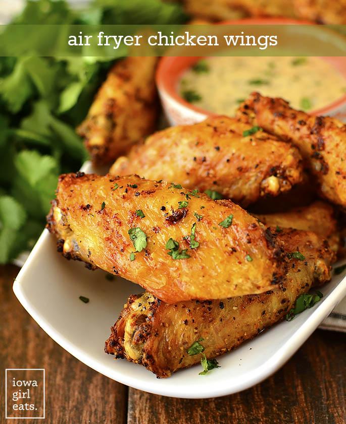 Plate of Air Fryer Chicken Wings