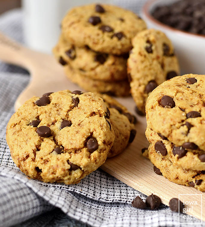Almond Flour Chocolate Chip Cookie on a plate