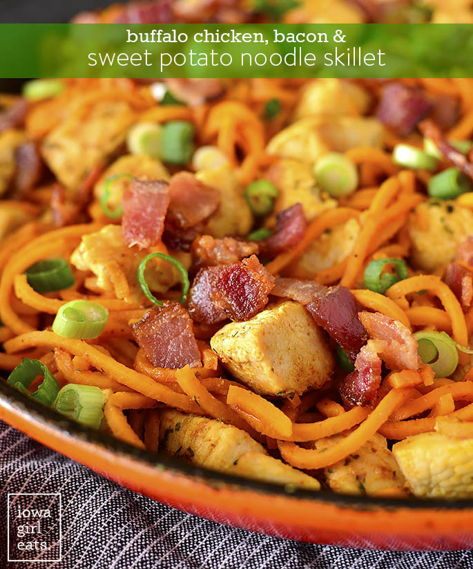 Photo of Buffalo Chicken, Bacon and Sweet Potato Noodle Skillet
