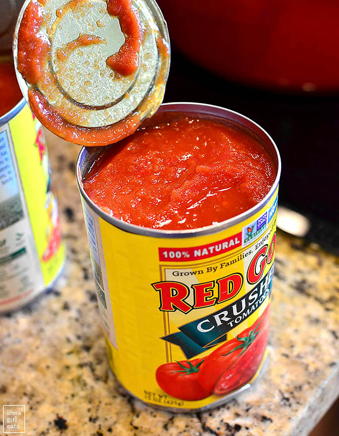 open can of red gold tomatoes