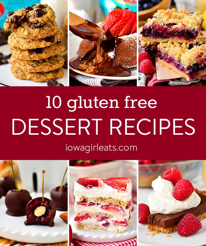 Photo collage of gluten free dessert recipes