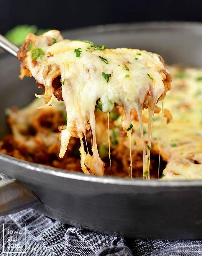 Cheesy scoop of Italian Rice Ball Skillet