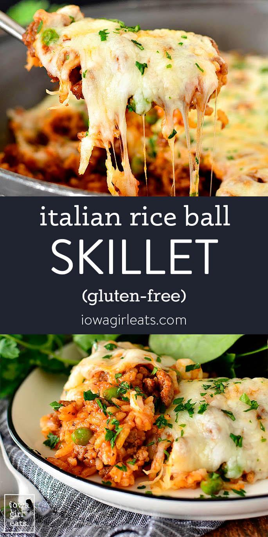 Photo collage of italian rice ball skillet