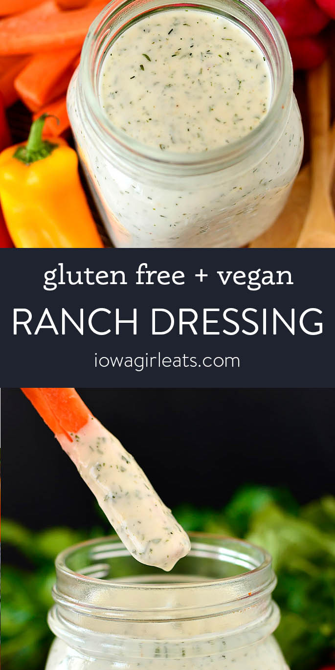 Photo collage of gluten free ranch dressing