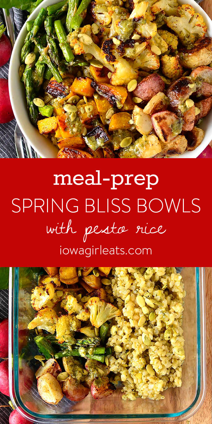Photo collage of Spring Bliss Bowls with Pesto Rice