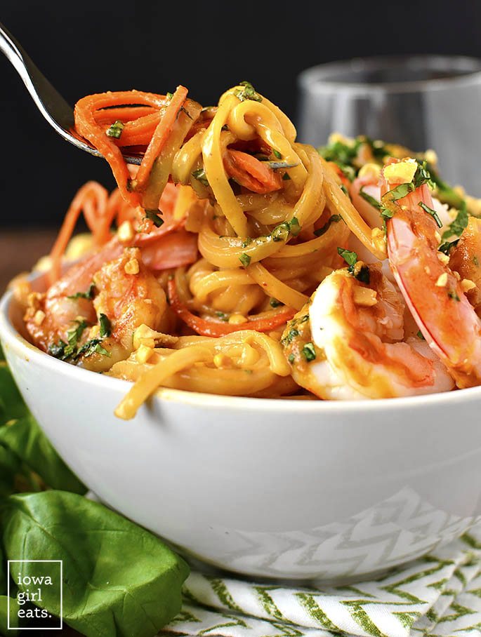 Fork swirling Summer Roll Noodle Bowls