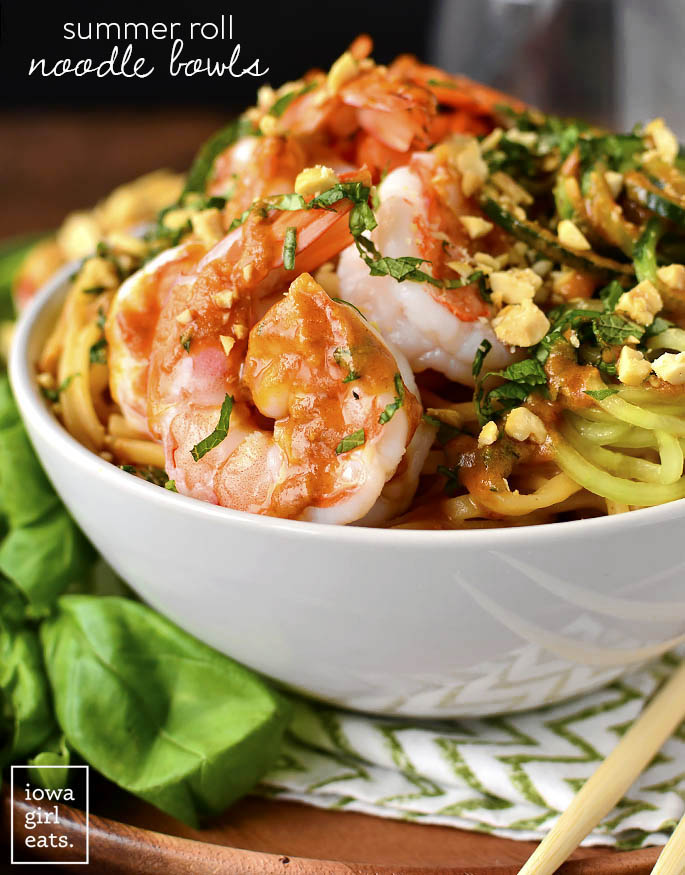 Straight on photo of Summer Roll Noodle Bowls with Peanut Sauce